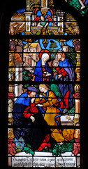 The doubt of st. Joseph, stained glass windows in the Saint Gervais and Saint Protais Church, Paris, France