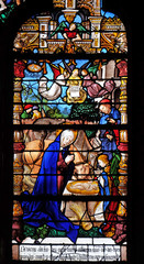 Nativity Scene, birth of Jesus, stained glass windows in the Saint Gervais and Saint Protais Church, Paris, France