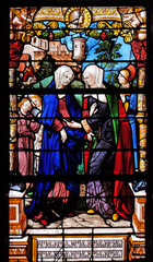 Visitation of the Virgin Mary, stained glass windows in the Saint Gervais and Saint Protais Church, Paris, France