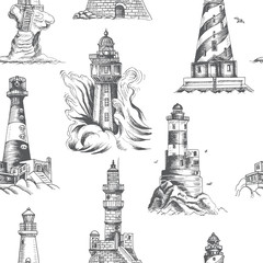Vector sketch of a seascape with a lighthouse.