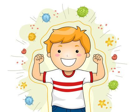 Shield Against Viruses Strong Kid Illustration