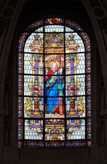 The Sacred Heart of Jesus, stained glass windows in the Saint Roch Church, Paris, France