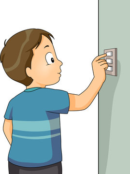 Kid Boy Turn Off Switch Illustration