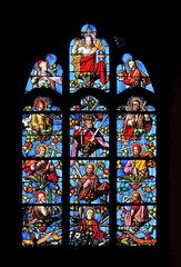 Jesus with apostles, genealogy of Jesus, stained glass window in Church of Saint Leu Saint Gilles in Paris, France
