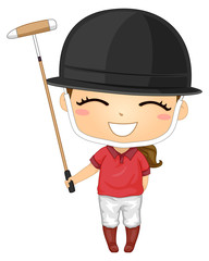 Kid Girl Polo Helmet Illustration