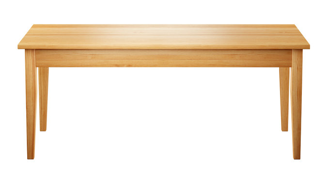 front view of wooden table isolated on white background with clipping path included, 3D render