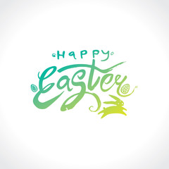 Happy Easter green logo. Doodle sketch vector hand drawn bunny jumping and Easter eggs. Easter handwritten inscription. Modern calligraphy.