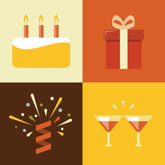 Vector illustration icon set of birthday: cake, gift, confetti, cocktail