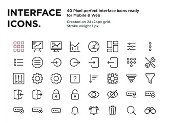 Fototapeta 40 Interface Icons, pixel perfect, created on 24x24px grid, ready for all mobile platforms, web and print, easy to change color or size  obraz