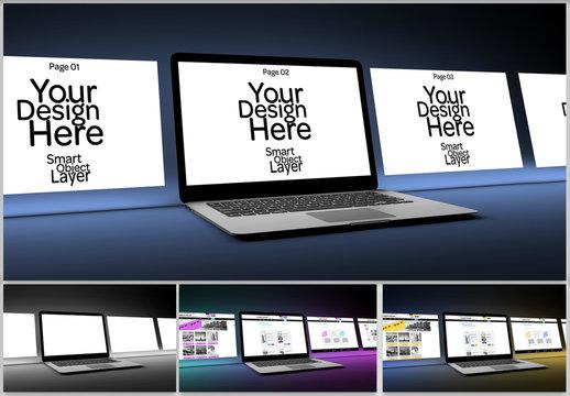 4 Website Pages on Desktop Computer Mockup