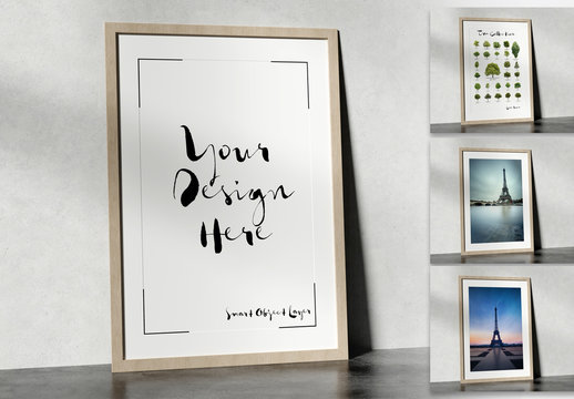 Tall Frame Leaning against Wall Mockup