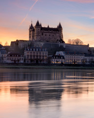 Saumur and the Loire river at sunset