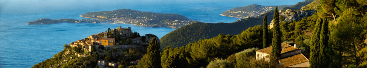 Village of Eze with Saint-Jean-Cap-Ferrat and the Mediteranean Sea in Summer. French Riviera panoramic view. Alpes-Maritime, Provence Alpes Cote d'Azur, France