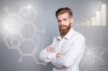Close up side profile creative design stylized graphic virtual poster photo confident he him his business guy social marketing futuristic pattern wear white shirt cross hands isolated grey background