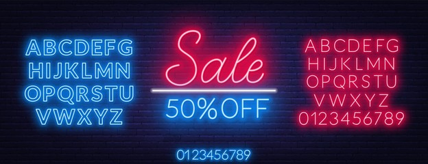 Fototapete - Sale neon sign. Offer a discount. Template with fonts. Vector illustration