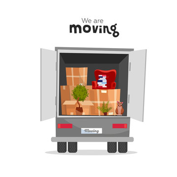 Things in box in the open trunk of the truck. Moving House. Moving courier van. Unloading or loading trucks. We are moving home concept with lettering qoute.Vector flat cartoon style illustration
