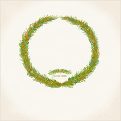 Vector wreath of plants and twigs on a light background.