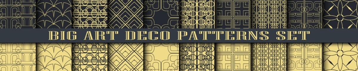Art Deco Patterns set collection. Golden backgrounds. Fan scales ornaments. Geometric decorative digital papers. Vector line design. 1920-30s motifs. Luxury vintage illustration Wall mural