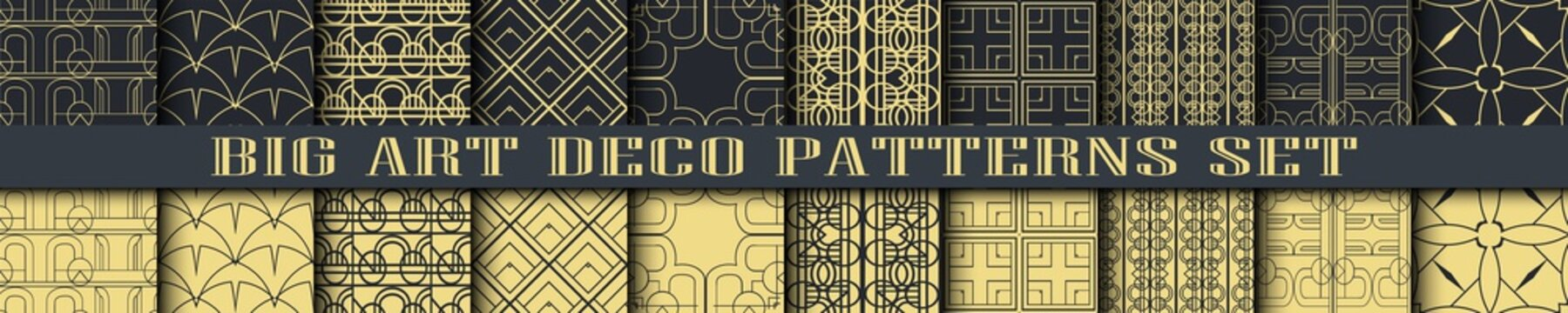 Art Deco Patterns set collection. Golden backgrounds. Fan scales ornaments. Geometric decorative digital papers. Vector line design. 1920-30s motifs. Luxury vintage illustration