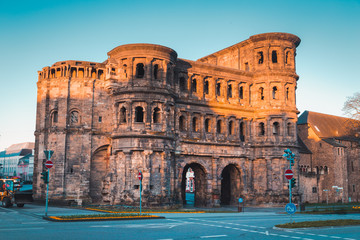 Porta Nigra in Trier at sunrise, Rheinland-Pfalz, Germany Wall mural