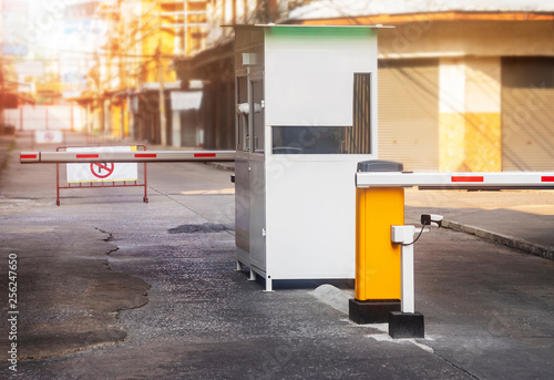 Parking ticket machine and barrier on the car