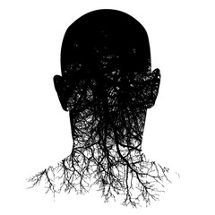 This silouette of a man's head morphs into roots in this black and white background