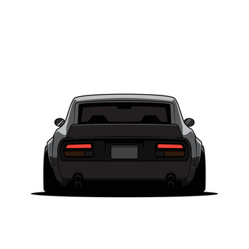 Cartoon old japan tuned car isolated. Back view. Vector illustration
