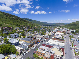 Aerial view of Park City on Main Street in Park City, Utah, USA.