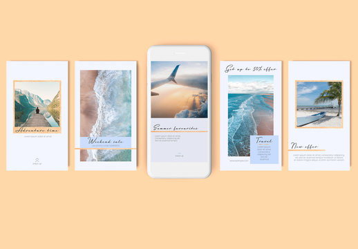10 Social Media Stories Layouts with Gold Glitter Details on Blue Background