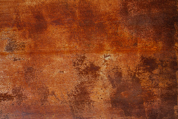 Grunge rusted metal texture. Rusty corrosion and oxidized background. Worn metallic iron panel. Abandoned design wall. Copper bar. Wall mural