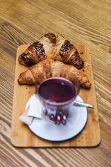 Fresh croissants and tea  for breakfast