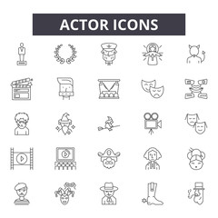 Actor line icons. Editable stroke. Concept illustrations: drama, performance, show, theater etc. Actor  outline icons