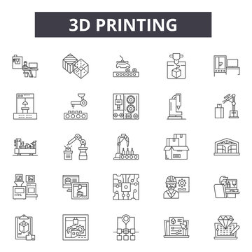 3d printing line icons. Editable stroke. Concept illustrations: manufacturing,technology,3d,plastic,print,design,equipment etc. 3d printing  outline icons