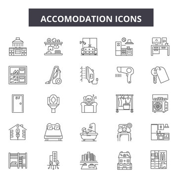 Accomodation line icons. Editable stroke. Concept illustrations: travel, holiday, vacation, hotel, room etc. Accomodation  outline icons