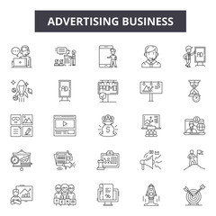 Advertising business line icons. Editable stroke. Concept illustrations: marketing, digital promotion, design, promo, advertisement etc. Advertising business  outline icons