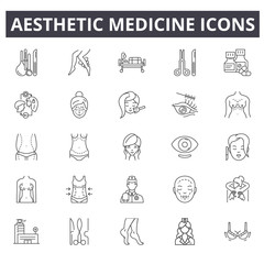 Aesthetic medicine line icons. Editable stroke signs. Concept icons: face, treatment, female procedure, skin beauty etc. Aesthetic medicine outline illustrations