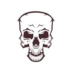 Skull Head Illustration Line Art