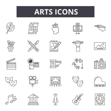 Arts line icons for web and mobile. Editable stroke signs. Arts  outline concept illustrations