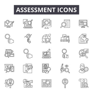 Assessment line icons for web and mobile. Editable stroke signs. Assessment  outline concept illustrations