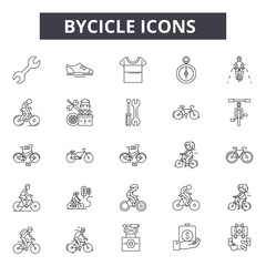 Bycicle line icons for web and mobile. Editable stroke signs. Bycicle  outline concept illustrations