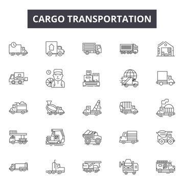 Cargo transportation line icons for web and mobile. Editable stroke signs. Cargo transportation  outline concept illustrations