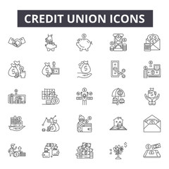 Credit union line icons for web and mobile. Editable stroke signs. Credit union  outline concept illustrations
