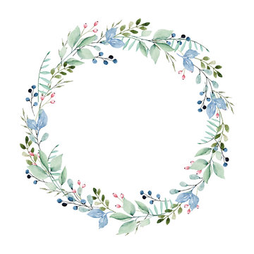 Wreath of watercolor leaves. Round frame with leaf. For greeting card, wedding invitation, poster, stickers and other. Summer holiday design. Hand painting floral border.