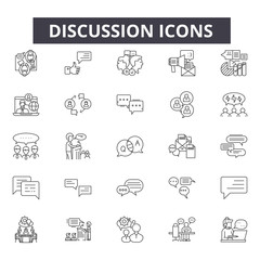 Discussion line icons for web and mobile. Editable stroke signs. Discussion  outline concept illustrations
