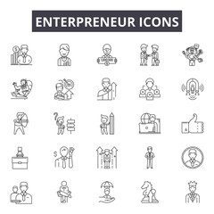 Enterpreneur line icons for web and mobile. Editable stroke signs. Enterpreneur  outline concept illustrations