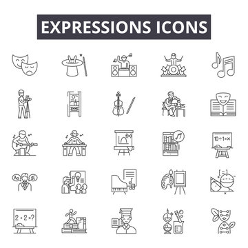 Expressions line icons for web and mobile. Editable stroke signs. Expressions  outline concept illustrations