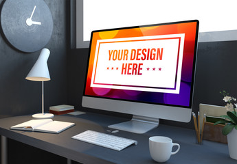 Computer on Dark Gray Desk Mockup