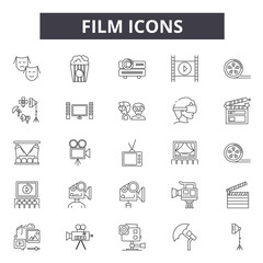 Film line icons for web and mobile. Editable stroke signs. Film  outline concept illustrations