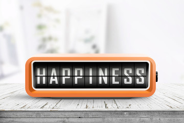 Happiness message on a retro alarm clock