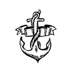 Vector hand drawn black color old school tattoo anchor on white background